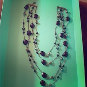 Layered Black Bead/Crystal Necklace